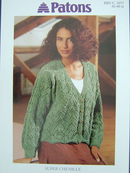 Patons Ladies Lace cardigan Knitting Pattern in super chenille  5075