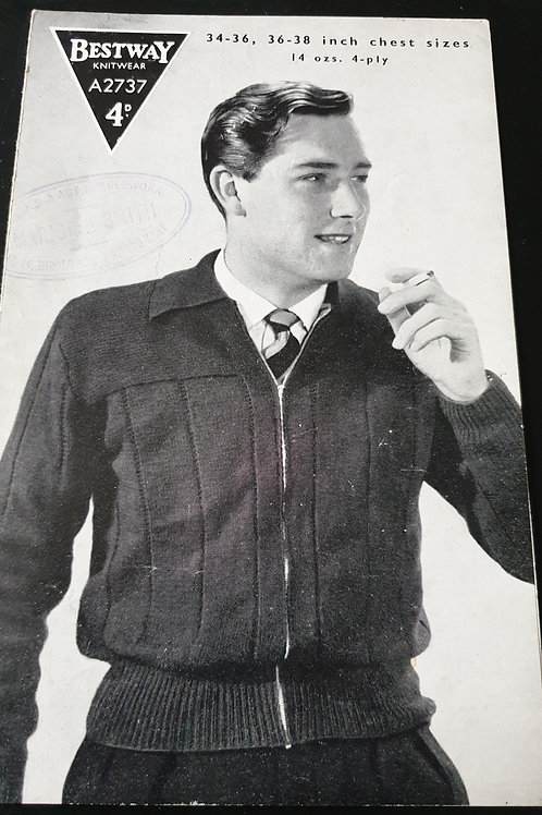 Vintage bestway mens lumber jacket knitting pattern