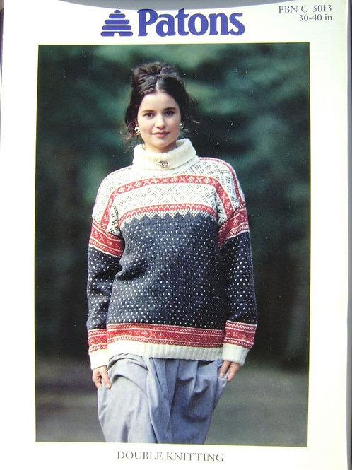 Patons Ladies Fair Isle Sweater  Knitting Pattern 5013