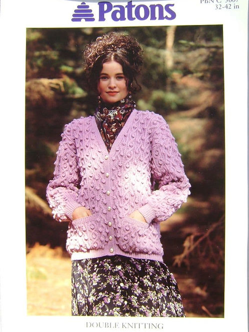 Patons Bobble Textured Cardigan   Knitting Pattern 5007