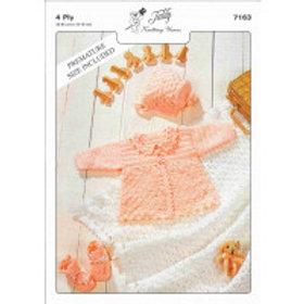 Teddy 4ply Crochet Matinee Set & Shawl