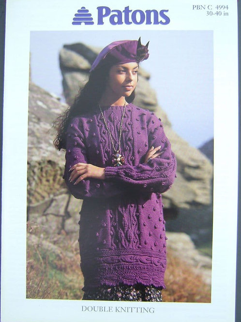 Patons Ladies Leaf and Booble Tunic Knitting Pattern in Dk 4994