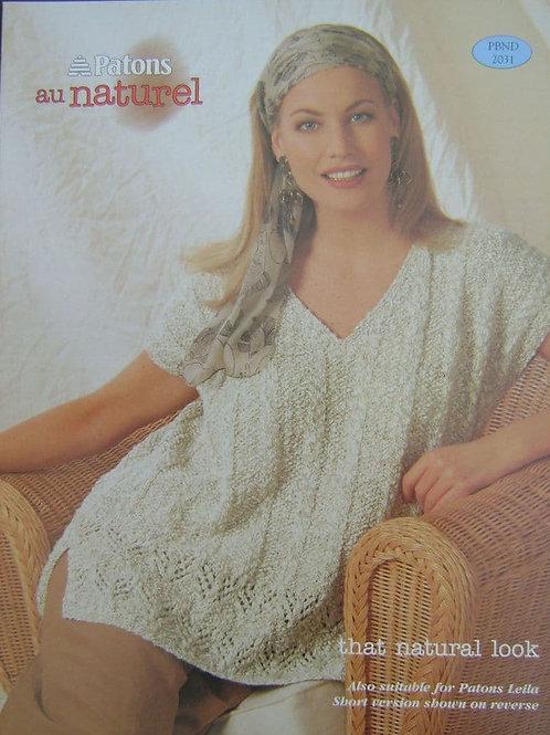 Patons Ladies  Knitting Pattern 2031. that natural look