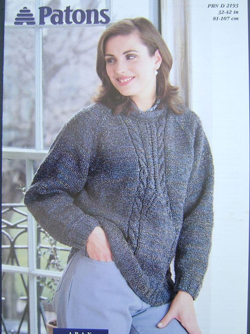 """Patons  Knitting Pattern 2193 in Aran to fit bust 32-42"""""""