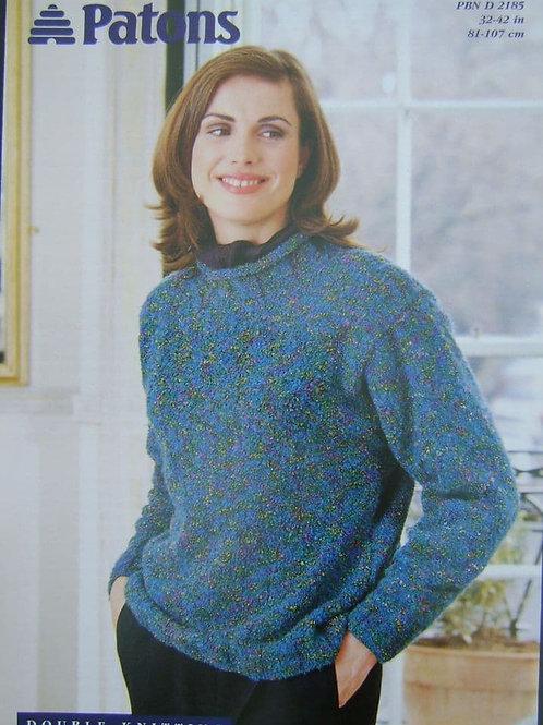 Patons Ladies D.K. Sweater Knitting Pattern 2185