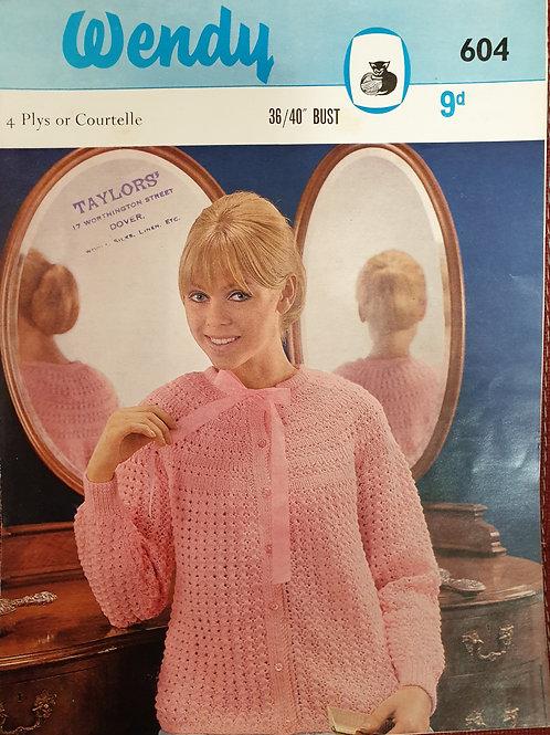 Vintage wendy lady's Bedjacket Knitting Pattern