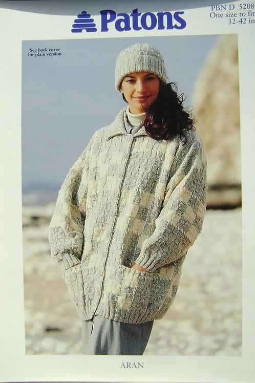 Patons Ladies Aran Jacket and Hat  Knitting Pattern 5208