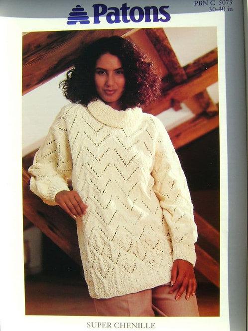 Patons  Roll Neck Tunic Knitting Pattern 5073
