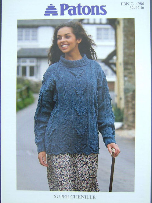Patons Ladies Bobble Tunic  Knitting Pattern 4986 made in Super Chenille