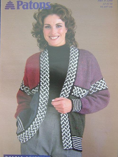 Patons Ladies Jacket Knitting Pattern . D.K. 2200