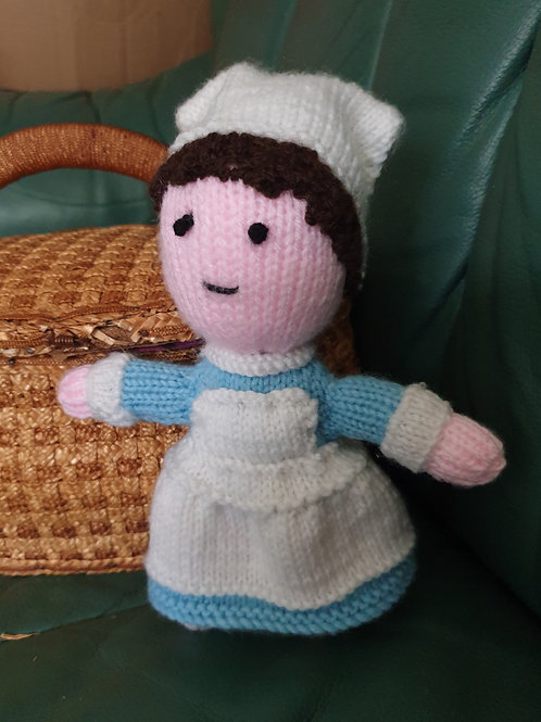 Small Hand Knitted Nurse: Made by Jane