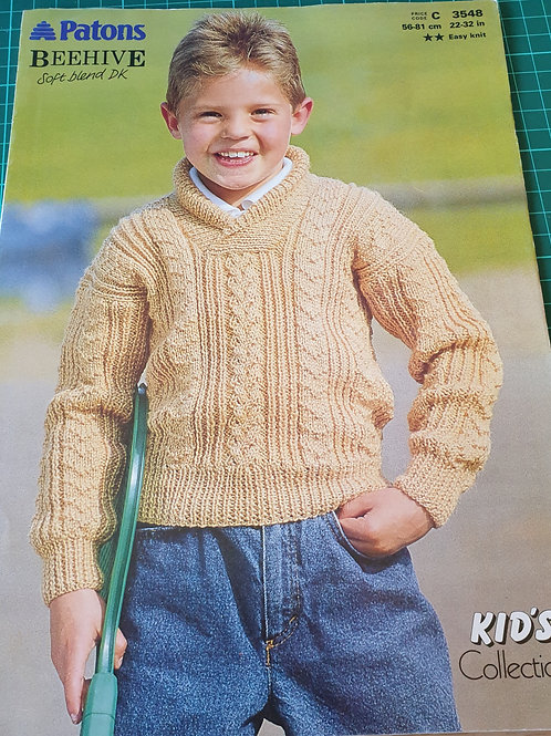 Pre-loved Patons beehive boys knitting pattern