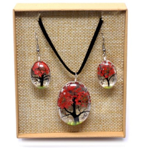 Pressed Flower Necklace and Earring:coral
