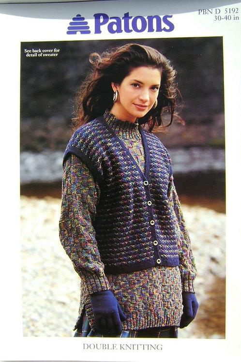 Patons Ladies  Waistcoat and Tunic Knitting Pattern 5192
