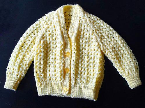 Handmade  Knitted Baby'S Lemon Cardigan