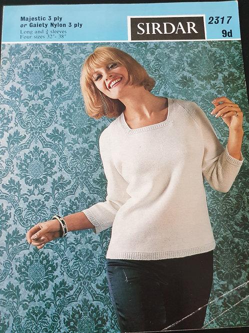 sirdar vintage 3ply  ladies raglan sweater.
