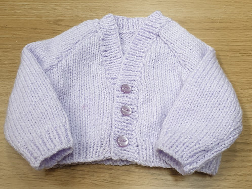 Hand-knitted premature baby lilac cardigan
