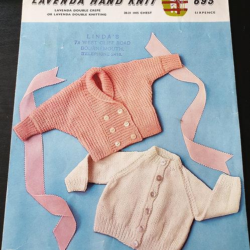 vintage Lavenda Hand Knit pattern: Babys cardigan dk