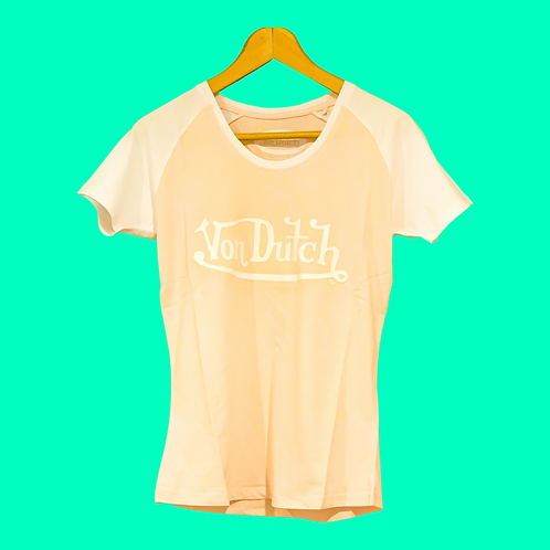 Von Dutch Tee Peach & White