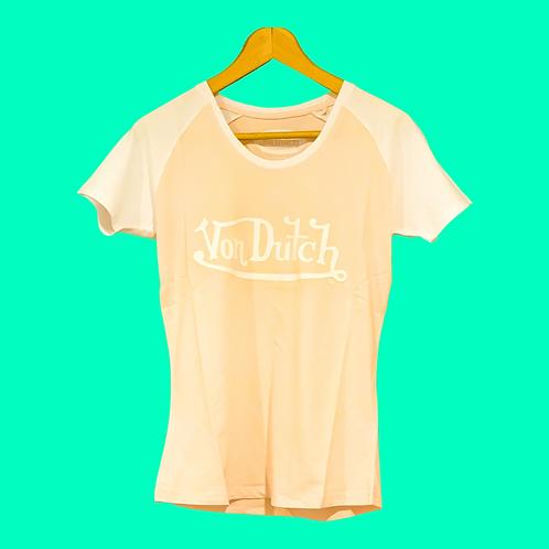 Von Dutch Tee Peach & White