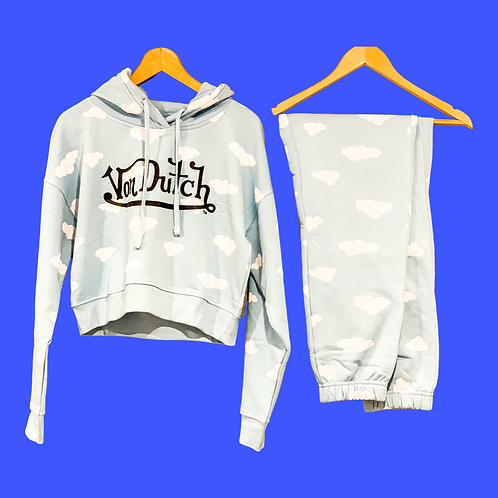 Von Dutch Cropped Hoodie and Track Pants Blue Clouds