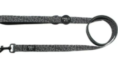 Black & Grey Leopard: Dog Lead