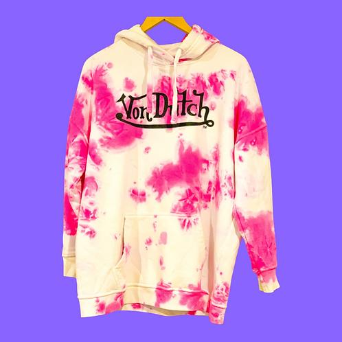 Von Dutch Hoodie Pink & White Tie Dye