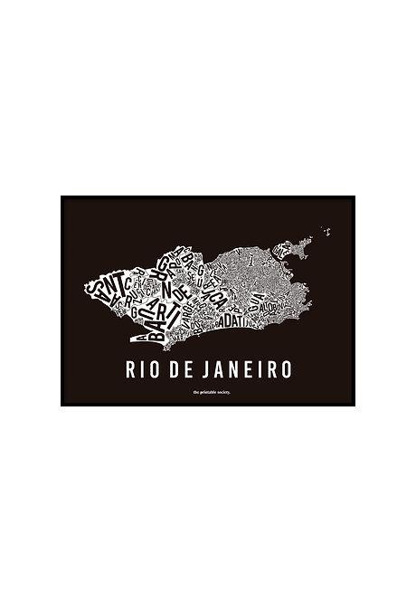 RIO TYPOGRAPHIC MAP BW, PRINTABLE