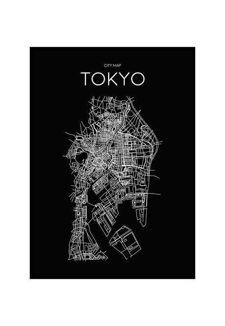 TOKYO MINIMALIST MAP BLACK, PRINTABLE