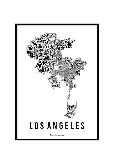 LOS ANGELES TYPOGRAPHIC MAP WHITE, PRINTABLE