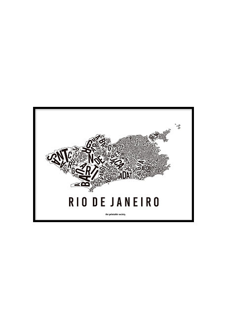 RIO TYPOGRAPHIC MAP WHITE, PRINTABLE