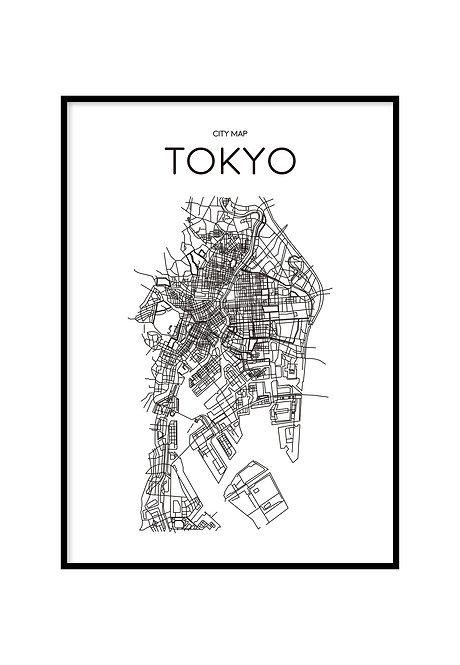 TOKYO MINIMALIST MAP WHITE, PRINTABLE