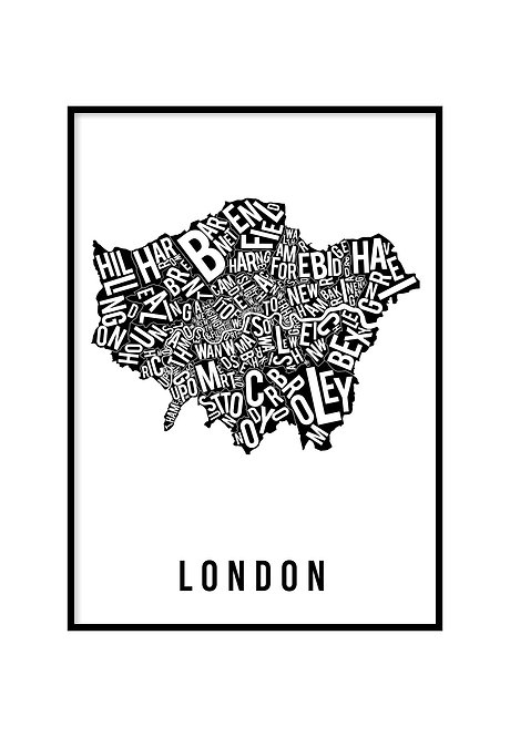 LONDON TYPOGRAPHIC CITY MAP WHITE & BLACK, PRINTABLE