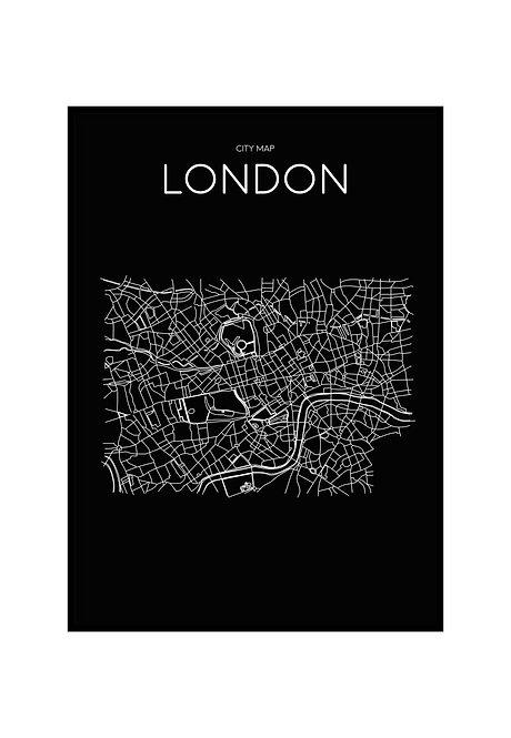 LONDON MINIMALIST MAP BLACK, PRINTABLE