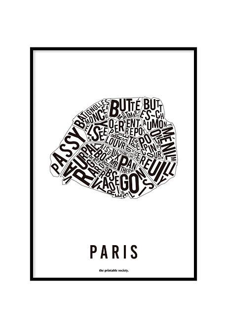 PARIS TYPOGRAPHIC MAP WHITE, PRINTABLE