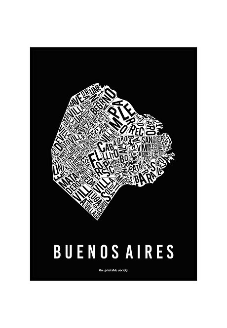BUENOS AIRES TYPOGRAPHIC MAP BW, PRINTABLE