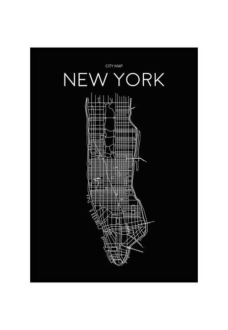 NEW YORK MINIMALIST MAP BLACK, PRINTABLE