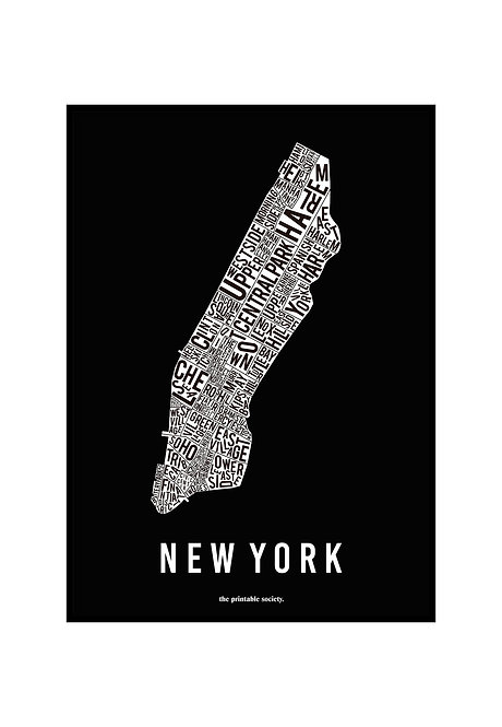 NEW YORK TYPOGRAPHIC MAP BW, PRINTABLE