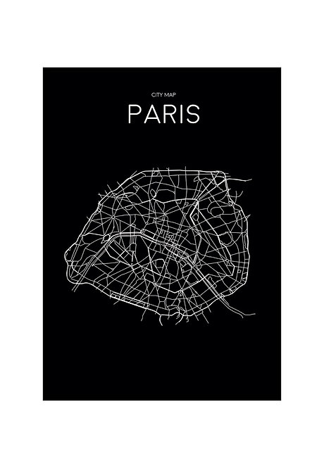 PARIS MINIMALISTIC MAP BLACK, PRINTABLE