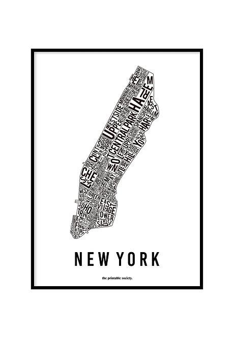 NEW YORK TYPOGRAPHIC MAP WHITE, PRINTABLE