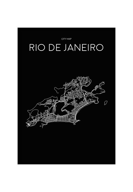 RIO DE JANEIRO MINIMALIST MAP BLACK, PRINTABLE