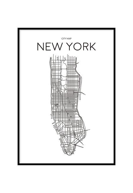 NEW YORK MINIMALIST MAP WHITE, PRINTABLE