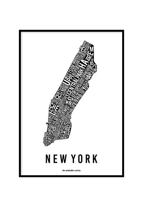 NEW YORK TYPOGRAPHIC MAP BLACK, PRINTABLE