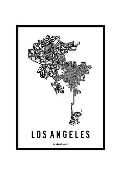 LOS ANGELES TYPOGRAPHIC MAP BLACK, PRINTABLE