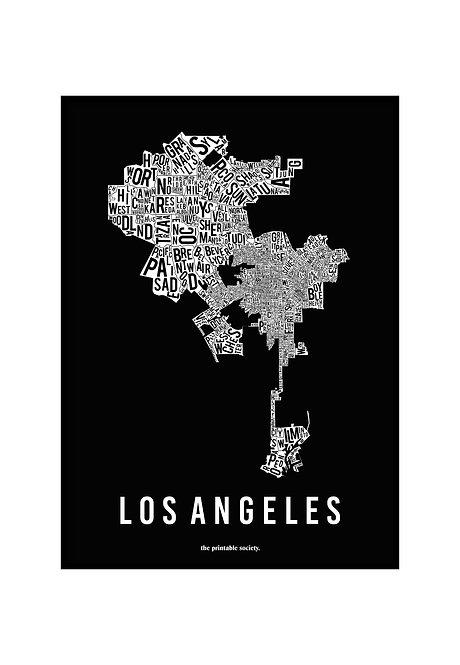 LOS ANGELES TYPOGRAPHIC MAP BW, PRINTABLE