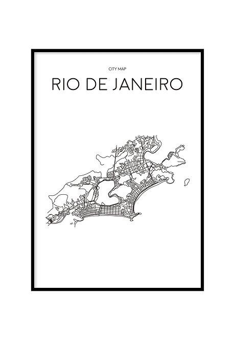 RIO DE JANEIRO MINIMALIST MAP WHITE, PRINTABLE