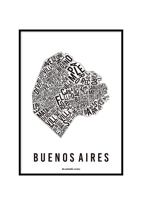 BUENOS AIRES TYPOGRAPHIC MAP WHITE, PRINTABLE