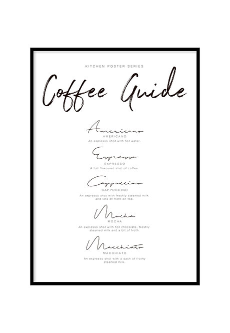 COFFEE GUIDE, PRINTABLE