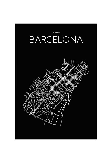 BARCELONA MINIMALIST MAP BLACK, PRINTABLE