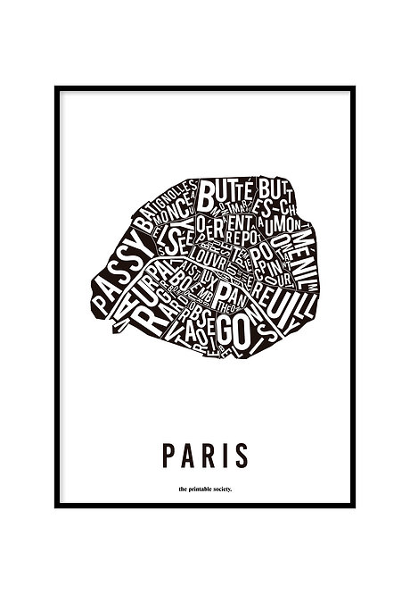 PARIS TYPOGRAPHIC MAP BLACK, PRINTABLE